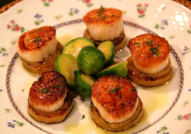 Sea Scallops with Butternut Squash and Caper-Apricot Sauce