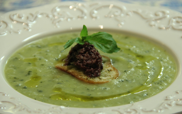 Chilled Zucchini Soup with Black Olive Crostini